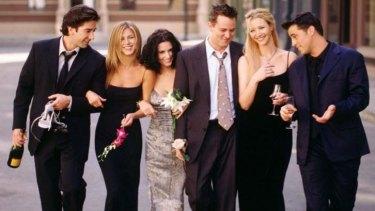 <i>Friends</i> stars (L-R) David Schwimmer, Jennifer Aniston, Courteney Cox, Matthew Perry, Lisa Kudrow and Matt LeBlanc.