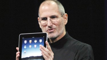 Apple's Steve Jobs pictured with the new Apple iPad.