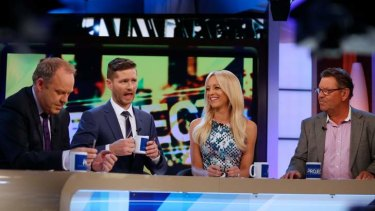 Charlie Pickering (second left) during his last episode of Channel 10's <i>The Project</i>.