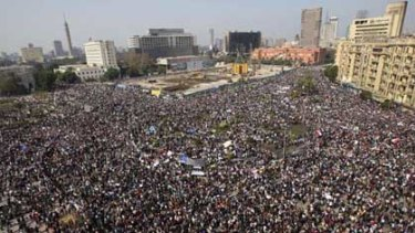 The crowd gathers in Tahrir, or Liberation, Square in Cairo.