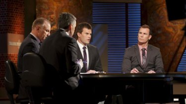 Perspective: Carey (far right) gives a former player's considered take on AFL issues on Channel Seven's <i>Talking Footy</i>.