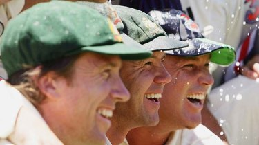 Last of the old guard ... Ricky Ponting, centre, pictured here with Glenn McGrath , left, and Shane Warne after Australia sealed a 5-0 Ashes victory in January 2007.