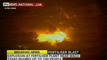 Huge explosion: the blaze at the fertiliser plant.