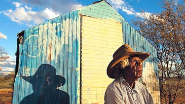 """""""Away from all the rules and interference"""" ... the Alyawarr elder Banjo Morton with his shed at Honeymoon Bore, where his people plan to build mud-brick homes."""
