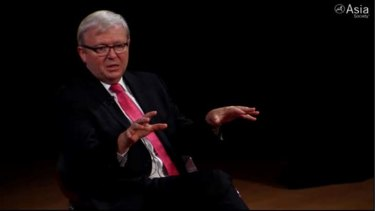 Former prime minister Kevin Rudd speaking at a forum in New York.