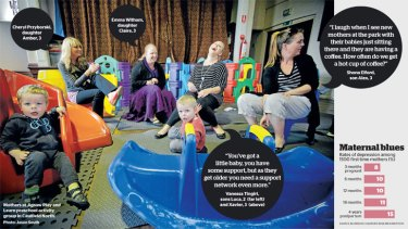 Mothers at Jigsaw Play and Learn preschool activity group in Caulfield North. </i>Photo: Jason South</i>