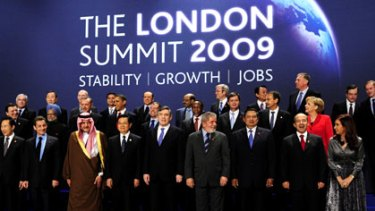 'Family photo' ... the G20 leaders in London.