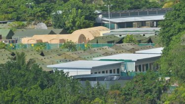 Green and khaki canvas tents at the asylum-seeker accommodation centre in Nauru await the arrival of more refugees.