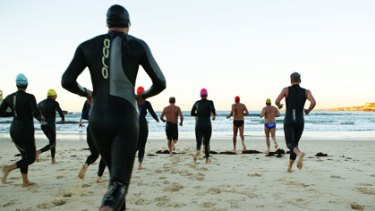 Hard yards ... Ocean swimmers take on the waves.