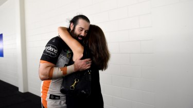 Aaron Woods and Wests Tigers chairwoman Marina Go at Townsville.