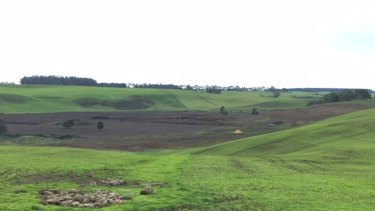 The altered landscape in Harman's Valley after a section of the rocky lava flow was rolled back into the earth.