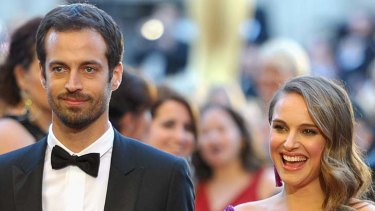Beautiful, talented, super-smart ... Natalie Portman attends the Oscars with fiance Benjamin Millepied.
