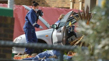 The scene near Endeavour Hills police station.