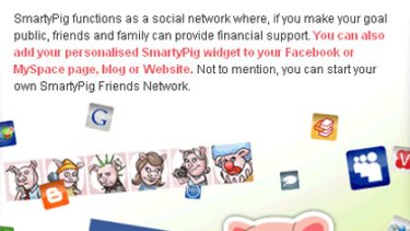 A screen grab from the Smarty Pig website.
