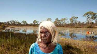 Marra  Elder Betty Roberts at Maria Lagoon on the The Limmen River in the Gulf of Carpentaria.
