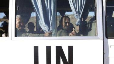 Free at last: Fijian UN peacekeepers arrive in Israeli-held territory.