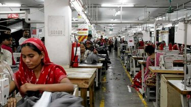 The factory floor at a Dhaka garment factory.