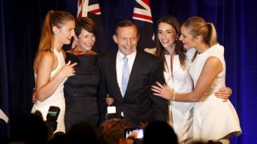 Happy family: Tony Abbott and his family on election night.