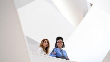 Fellowship winners Mireille Juchau and Alana Valentine.