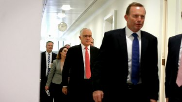 At war? Prime Minister Malcolm Turnbull and former prime minister Tony Abbott at Parliament House.