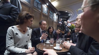 Ban visits La Bonne Biere cafe with Anne Hidalgo (centre), Mayor of Paris. Five people were killed at the cafe by a squad of Islamic extremist gunmen on November 13.