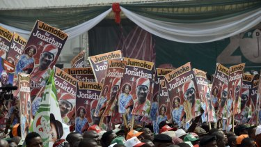 Supporters of Nigerian President Goodluck Jonathan in Lagos.