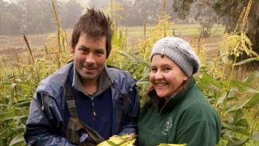 Craig and Shelley Heppell with the last of their corn harvest.