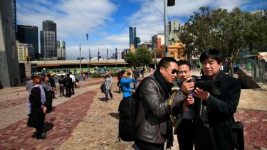 Asian tourists in Melbourne.