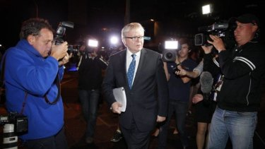 Former Prime Minister Kevin Rudd leaves the Home Insulation Inquiry at Brisbane Magistrates Court.