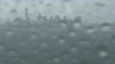 Manhattan as seen from a New York Harbour webcam.