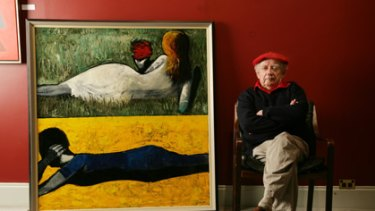 Artist Charles Blackman, with his 1961 work Double Image IV.