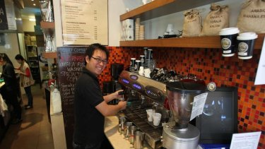 Fresh flavour ... Hendra Taruli sells pure Indonesian coffee by the cup or roasted at Opal Coffee.
