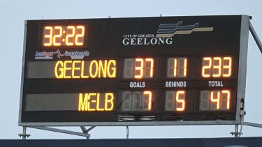 The scoreboard tells the tale of the game between the Cats and the Demons last year.
