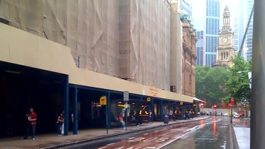 The bus stands next to the QVB on York Street in Sydney city centre were deserted at 8.00am today.