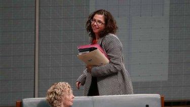 Labor MP Amanda Rishworth leaves the chamber under 94a. Photo: Alex Ellinghausen