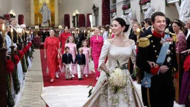 Crown Prince Frederik of Denmark and Crown Princess Mary on their wedding day in 2004.