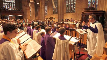 Churchgoers: The St Andrew's choir, with Ross Cobb.