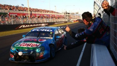 Dramas: Chaz Mostert charges for the line in the Bathurst 1000.