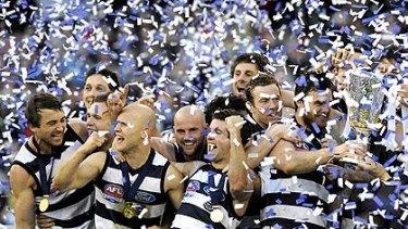 Geelong celebrating last year's win.