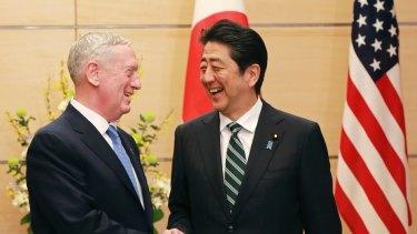 US Defence Secretary Jim Mattis (left) and Japanese Prime Minister Shinzo Abe.