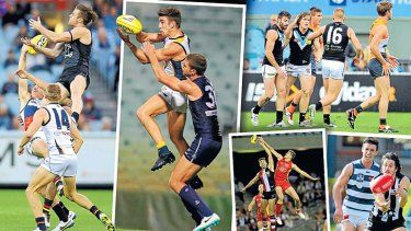 Go home five: (Clockwise from left) the Blues' SamDocherty; Eagle Elliot Yeo; Port's Jared Polec (second from left); Magpie Patrick Karnezis; Saint Billy Longer.