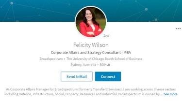 A screenshot from Felicity Wilson's LinkedIn profile.