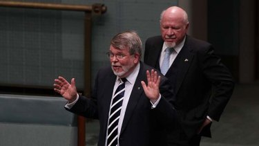 Harry Jenkins, with the Liberal MP Dr Mal Washer, in Parliament last month.