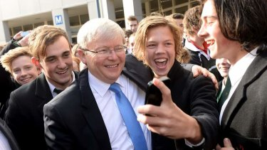 Prime Minister Kevin Rudd visiting Aquinas College in Ringwood.