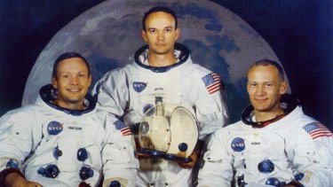 The Apolllo 11 crew Neil Armstrong, Mike Collins and Buzz Aldrin.