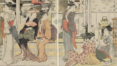 Utamaro, <i>Women Resting at the Fujimiya Teahouse</i> (detail), 1789-1790.