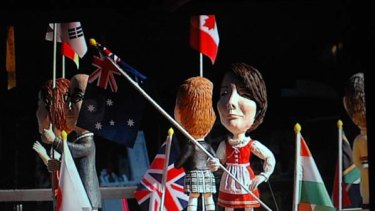 Right flag, wrong outfit . . . Julia Gillard is dressed in an Austrian costume in a window display in Seoul.