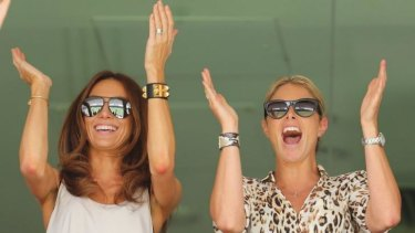 Kyly Clarke and fellow cricket WAG Candice Falzon cheer on their partners during the Ashes.