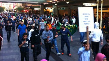 Protesters on the streets of Sydney  today.