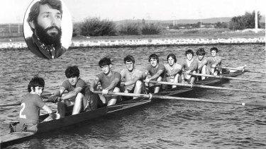Nigel Murray-Harvey (coach, inset) with his 1968-69 Telopea Park High School second eight.